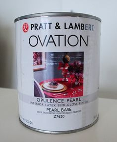 Pratt and Lambert Ovation opulence pearl paint. Adds a mother-of-pearl glow. Also comes with silver or gold finish. (centsationalgirl.com creative blog)