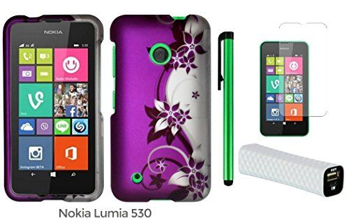 nice Nokia Lumia 530 (2014 Oct Released; US Carrier : T-Mobile and Cricket) Phone Case - Premium Pretty Design Protector Hard Cover Case + Screen Protector Film + I of 1600mAh (5V) Portable Lightweight External USB Emergency Mobile Power Bank + 1 of New Metal Stylus Touch Screen Pen (Purple Silver Black Vine Swirl)  Protect your phone from damage This accessory pack is manufactured for the Nokia Lumia 530 On the T-Mobile and Cricket Pre-cut openings allows full ac…
