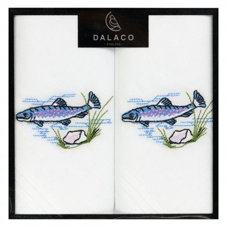 Pair of Embroidered Fishing Handkerchiefs - £11.50