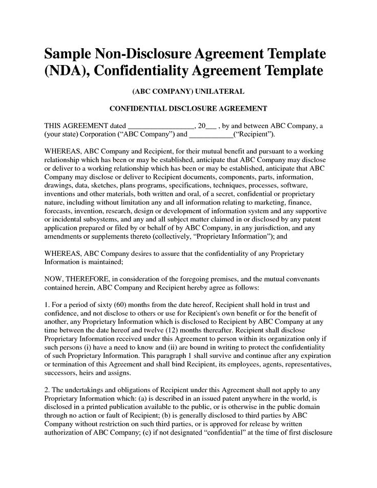 Nda Template Word Non Disclosure Agreement Template Free Sample