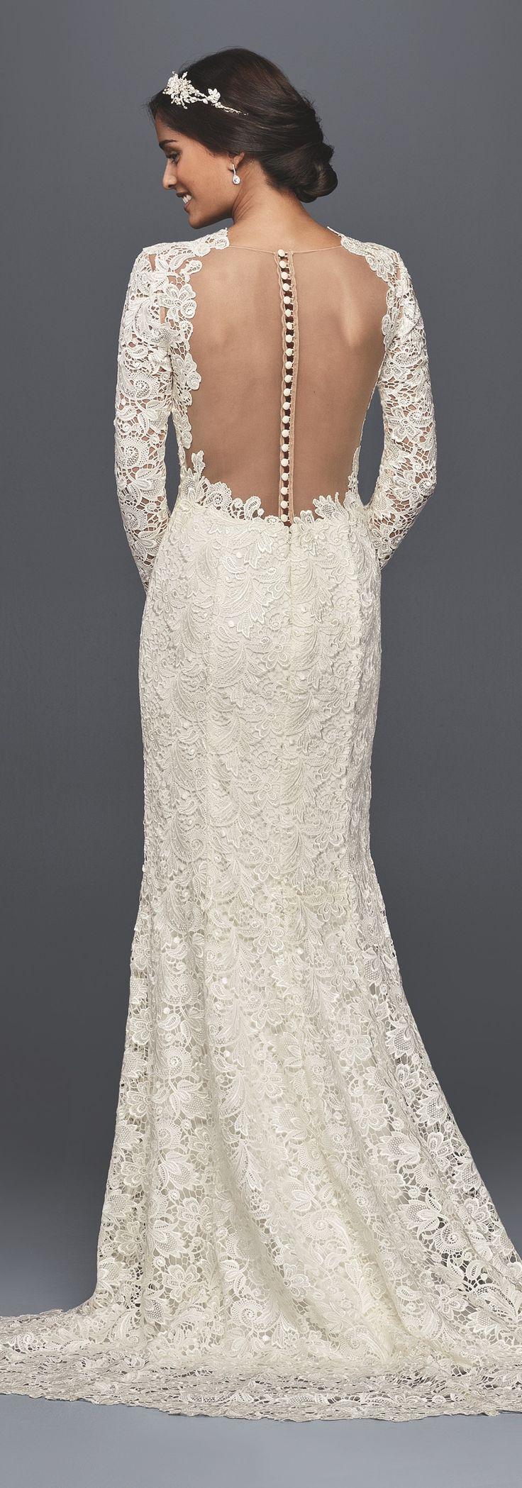 Long Sleeve Lace Wedding Dress with Open Back | David's Bridal Spring 2017  | #davidsbridal #melissasweet