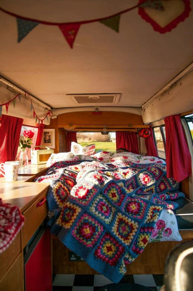 Interior of our 1973 campervan, Ethel