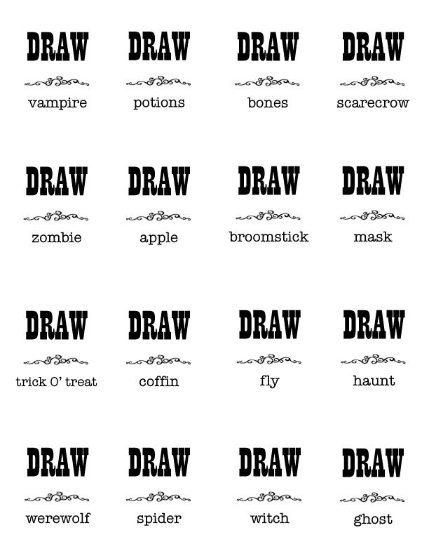 Scribble Drawing Game : Halloween pictionary charades cards holidays pinterest