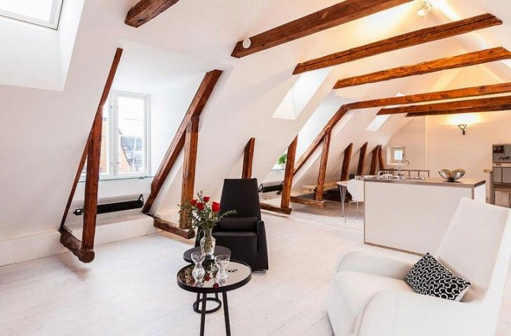 Living Room. Cozy Attic with White Interior Declaring a Comfortable Living Home: Appealing Attic Living Room Stockholm Gamla Stan Design With Wooden Beams Combination With Dining Room Ideas ~ wegli