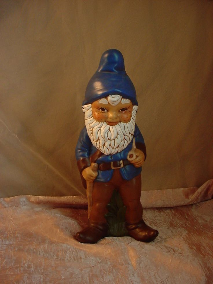Vtg Standing Garden Gnome with Freckles Pipe and Walking Stick 13 inch