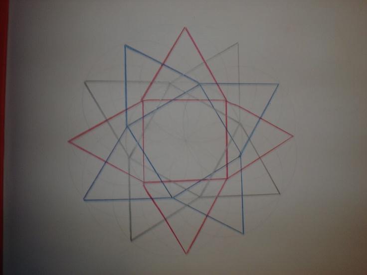 Vierkanten en driehoeken vanuit de cirkel construeren.