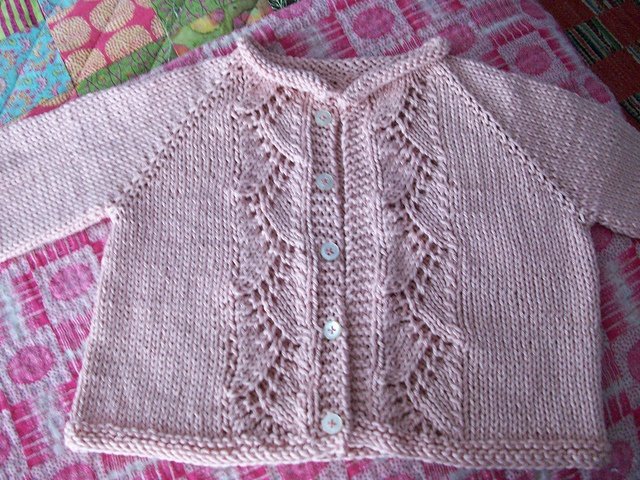 Knit Vine Lace Baby Cardigan Sweater by Kasia Lubinska - free pattern