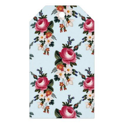 Vintage Pink Peony Flower Floral Pattern Gift Tags - retro gifts style cyo diy special idea