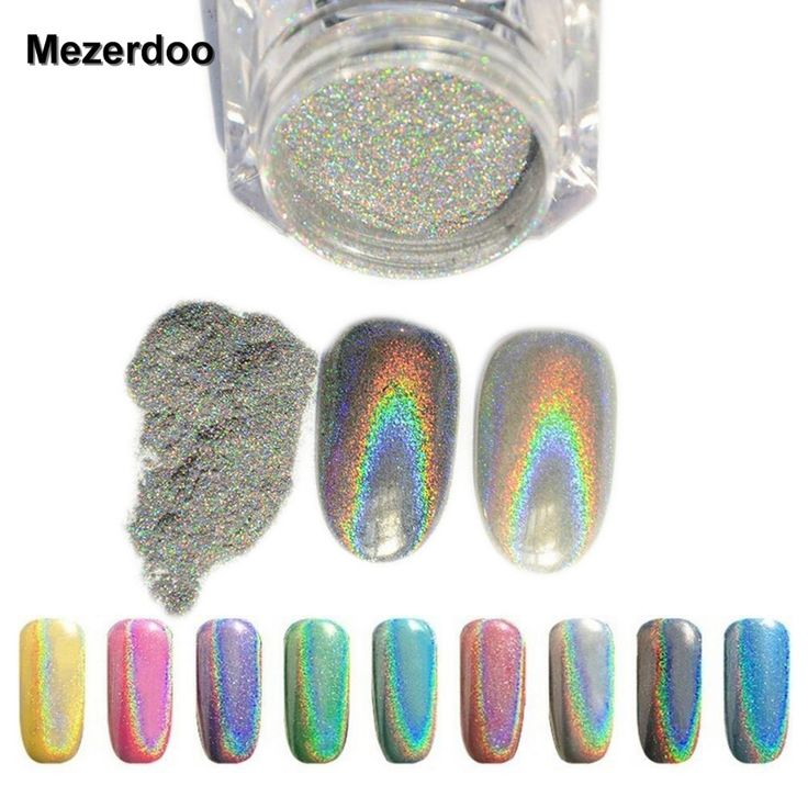 1g/Box Shiny Laser Nail Powder Holographic Nail Glitter Rainbow Chrome Pigment Manicure Pigments Dust Nail Art Decorations