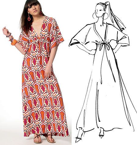 McCalls 6552 Fashion Star Maxi Dress Caftan by PatternParlor, $9.95