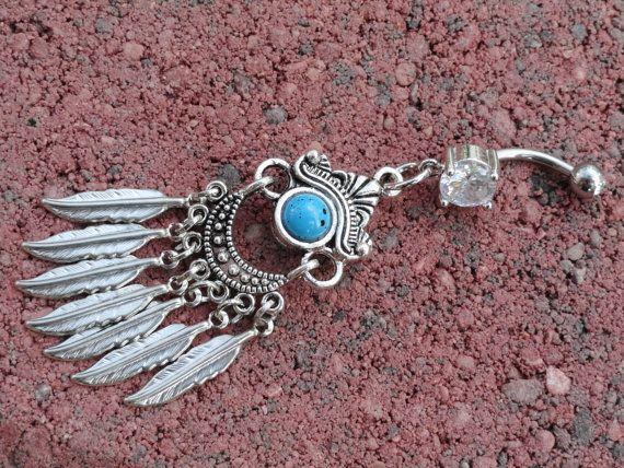 Gypsy Feather Belly Button Jewelry Southwestern by MidnightsMojo