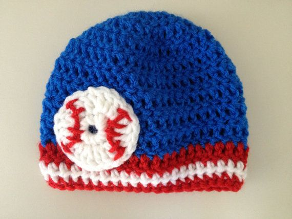 Baby Hat -- Baseball Crochet Beanie blue, red & white (Chicago Cubs, Toronto Blue Jays, or Texas Rangers Baby Baseball Hat) on Etsy, $27.23 CAD