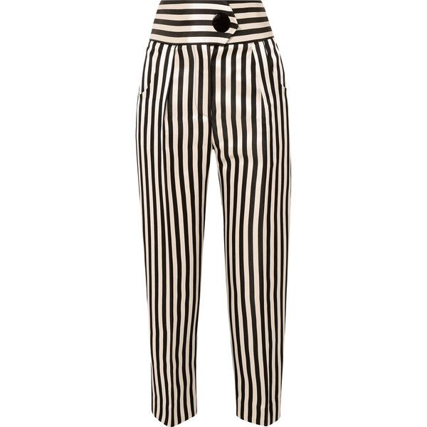 Petar Petrov Striped duchesse silk-satin straight-leg pants found on Polyvore featuring pants, tailored pants, oversized trousers, snap pants, tailored trousers and button pants