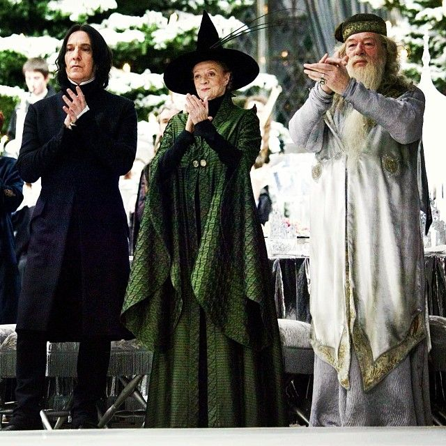 Sverus Snape (Alan Rickman), Minerva McGonagall (Dame Maggie Smith) & Professor Albus Percival Wulfric Brian Dumbledore (Michael Gambon) - Harry Potter