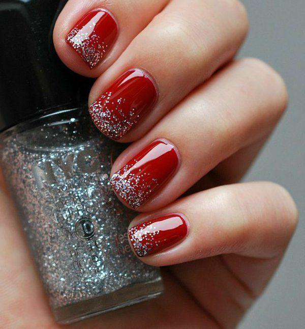 lackiert glitzern Gelnägel zu Weihnachten rote fingernägel