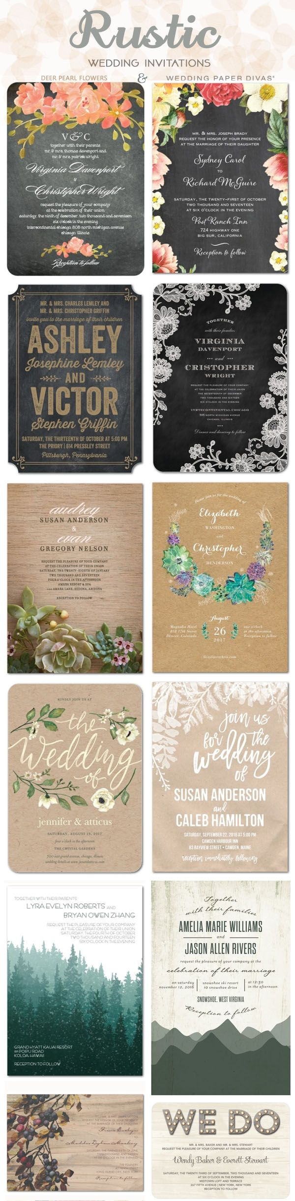 Rustic country wedding invitations ideas / http://www.deerpearlflowers.com/wedding-paper-divas-wedding-invitations/