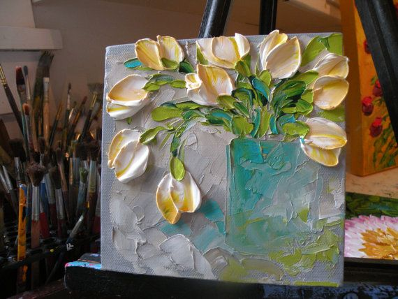 Original Painting Impasto White Tulips by IronsideImpastos