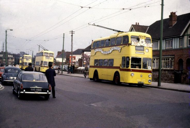 1969, I believe this is the last day of the trolley buses running, before they were scrapped.