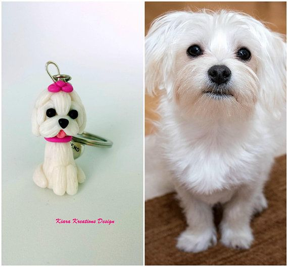 Maltese Dog Keychain In Polymer Clay Maltese Miniature As Pet Mom