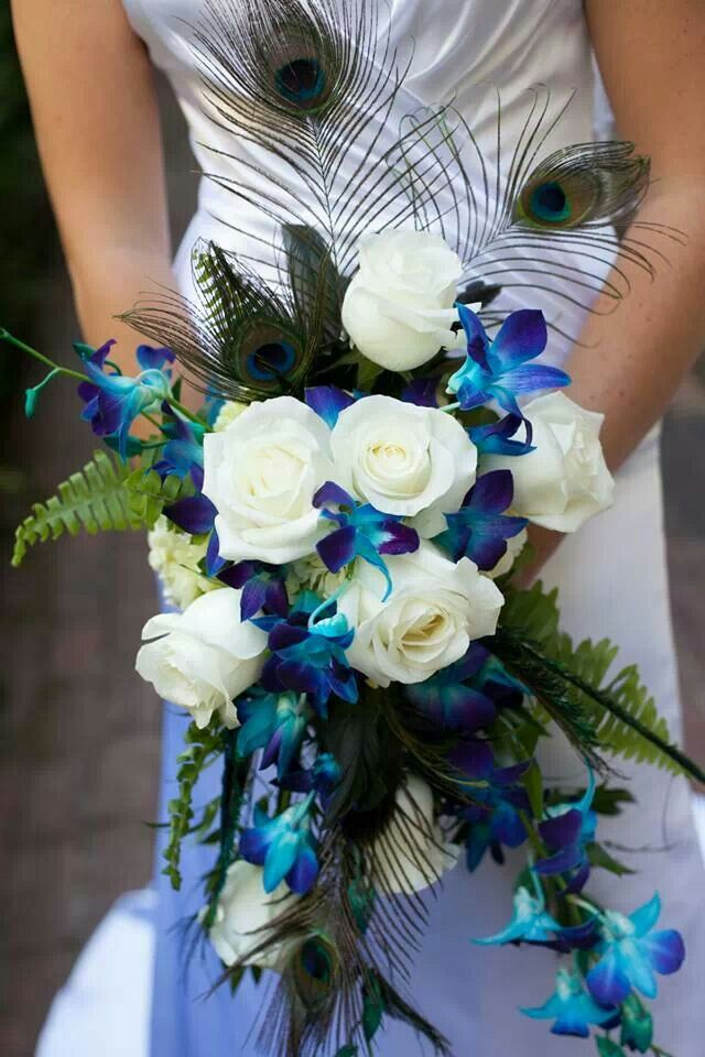 Peacock Wedding Bouquet Pretty For A Beach Love The Orchids