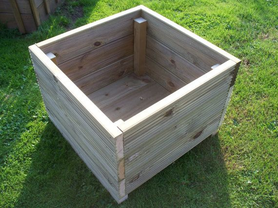 Hand made wooden square garden decking planters, Made from extra thick 32mm pressure treated tantalised timber We use quality decking screws drainage holes are drilled in the base for drainage medium 450mm long, 450mm wide and 430mm approx Large 600mm long, 600mm wide and 430mm approx The bases are made from 22mm pressure treated tantalised timber, not plywood. These are strong planters that will last many years using the highest quality 32 mm pressure treated timber  Tanalised timber is…