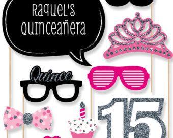 Quinceañera - Sweet 15 - rosa cumpleaños partido foto Booth Props - cumpleaños fiesta Kit Photobooth con la burbuja de conversación personalizada - 20 piezas