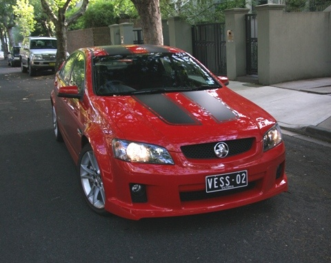 Holden Commodore SS V8 with Custom plates in standard size.