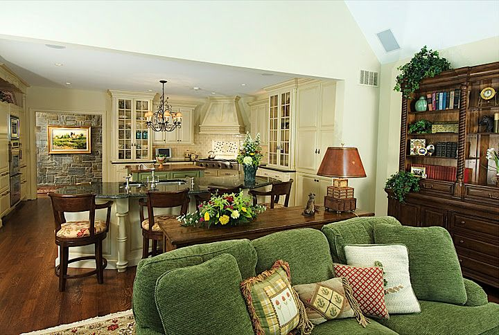 images of green country kitchens | Want the green plaid chair and ottoman.