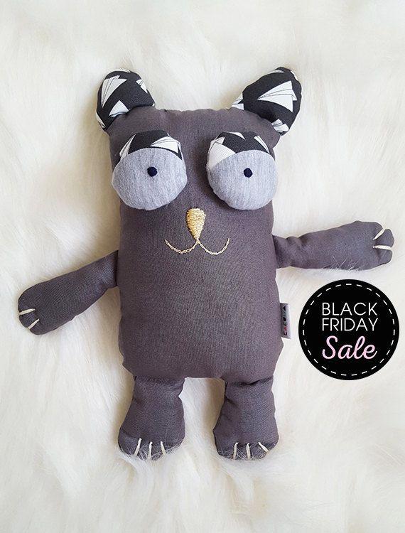 Black Friday Sale -20% Gray Cotton Kitty Cat Stuffed animals & plushies, christmas and birthday gift, Sweet Cat toy, by KAKUMAstore on Etsy