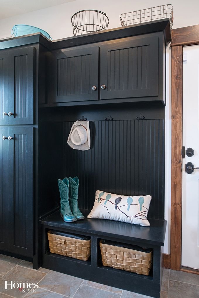 Like the cabinets worked in to the mudroom built-in.  House of Turquoise: Glen Mock Custom Homes