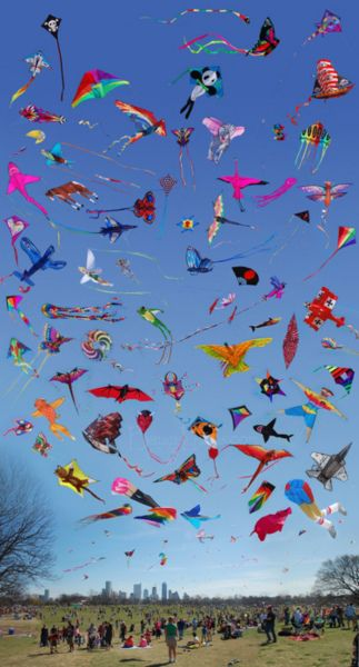 "We enjoy watching people fly kites downtown at ""The Open Space,"" park.  There are not this many, but the 4 or 5 are beautiful against the sky.    Typical March/April activity...sigh!"