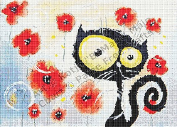 Poppies  high quality printed crossstitch chart by PaineFreeCrafts, $26.00