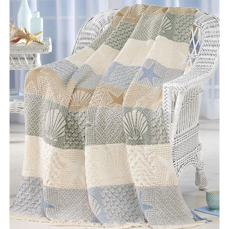 Seashells by the Seashore Throw - Gifts, Clothing, Jewelry, Home Decor and Home Furnishings as Featured in Popular Catalogs | Catalog Favorites
