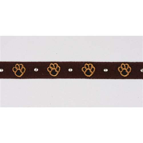 This embroidered dog collar is paw-sitively adorable! The studded dog collar designed by Susan Lanci features embroidered paw prints separated by polished, brass stud embellishments. This subtle doggie design is perfect for both boys and girls.