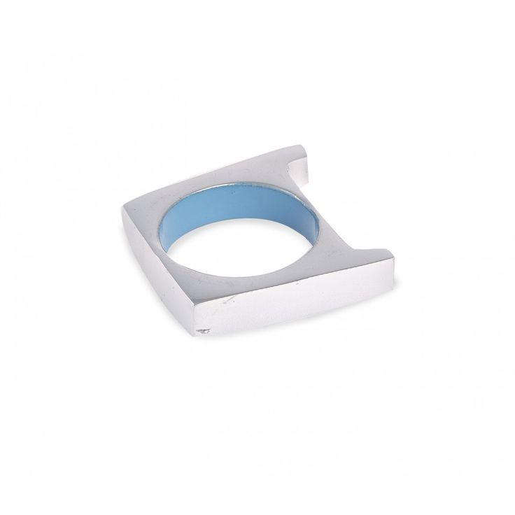 Keyse Napkin Ring. Polished metal and blue enamel.
