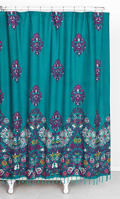 The Blomma Teal Shower Curtain is a printed shower curtain in woven cotton that instantly adds a stylish touch to any bathroom space. $54. Free shipping. Buy here.