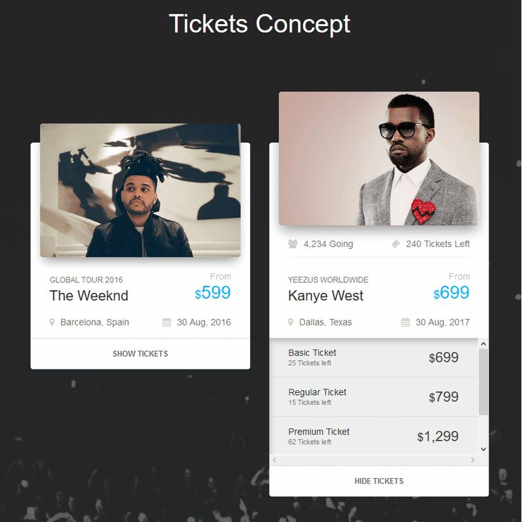 Tickets Concept Coding Bootstrap Code CSS CSS3 HTML HTML5 Javascript jQuery Resource Responsive SCSS Snippets Transition Web Design Web Development