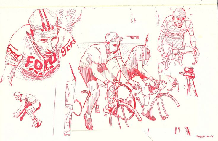 Preparatory sketches for Tour de France mural Sallanches