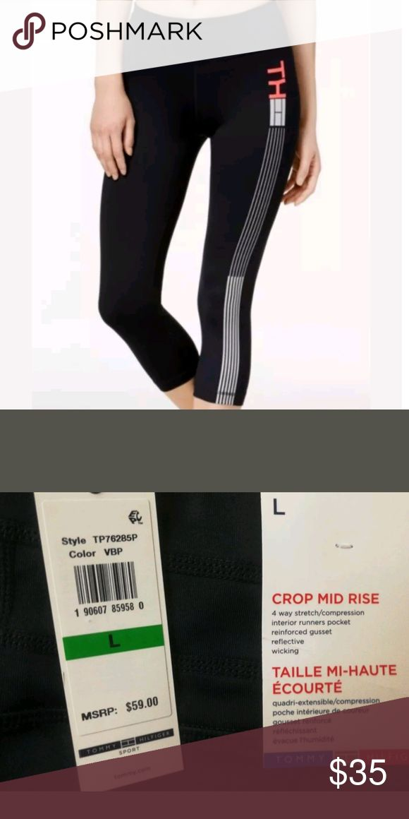 Tommy Hilfiger Sport Reflective Cropped Leggings Get your active game in gear with Tommy Hilfiger Sport's leggings. The tight, cropped fit makes them perfect for performance runs, with a reflective logo stripe along the left leg offering an extra element of visibility in low light Tommy Hilfiger Pants Leggings