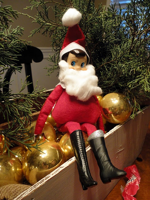 Elf On The Shelf Acting As Santa Look At His Stomach