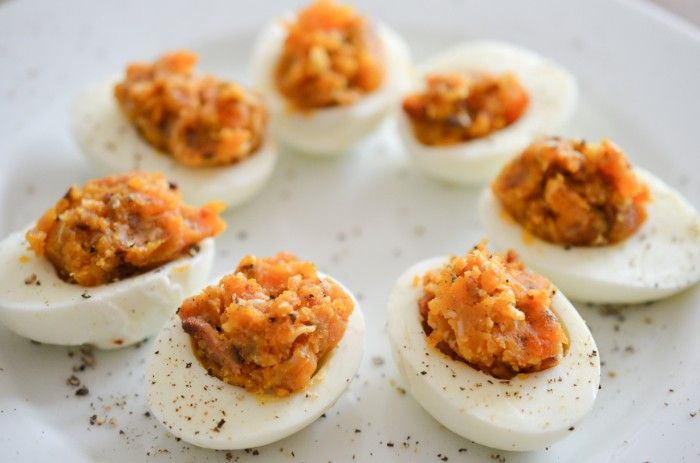 Bacon Deviled Eggs with Caramelized Onions and Cheddar Cheese-Thanksgiving appetizer