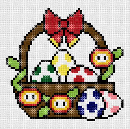 Mario themed easter basket cross stitch! You can no longer buy this pattern, but it's adorable :)