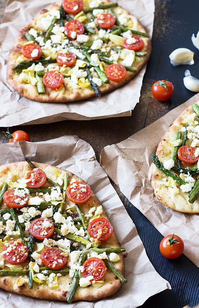 Spring Harvest Pizza - An EASY flatbread pizza with asparagus, artichokes, tomatoes and feta