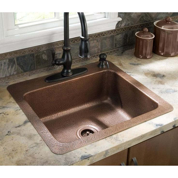 ECOSINKS Drop-in Hammered Antique Copper 25x22x8 4-Hole ...