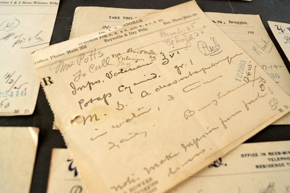 Vintage / Antique Handwritten Medical Prescriptions (N4) from 1898 (Set of 9) - Paper ephemera, collectibles, medical oddities