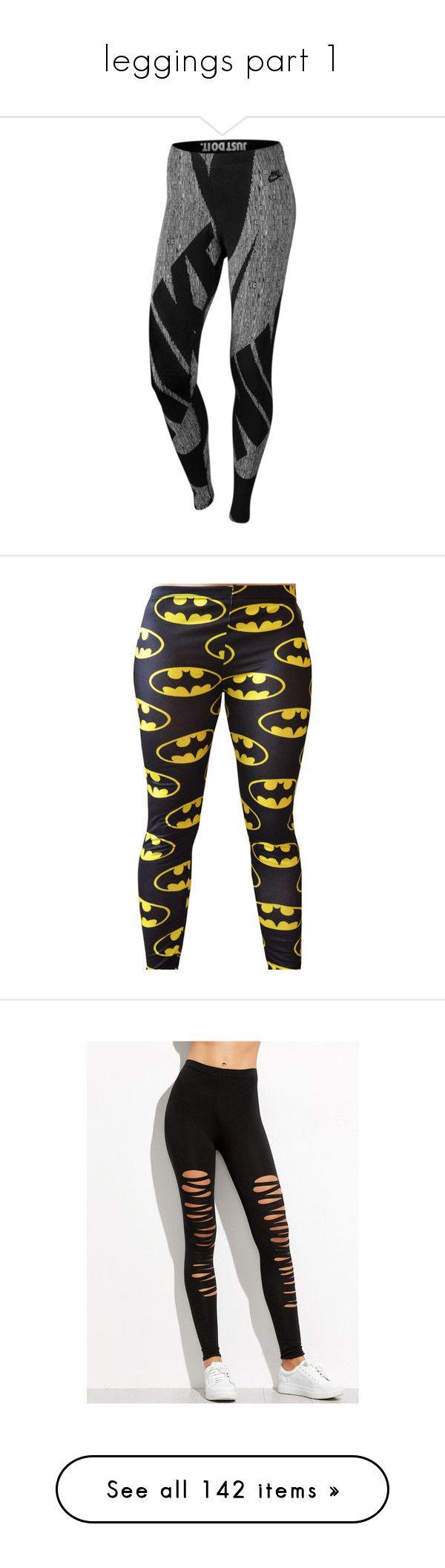 """leggings part 1"" by zoe-sears on Polyvore featuring pants, leggings, bottoms, sport, black, sports trousers, sports leggings, nike leggings, nike and legging pants"