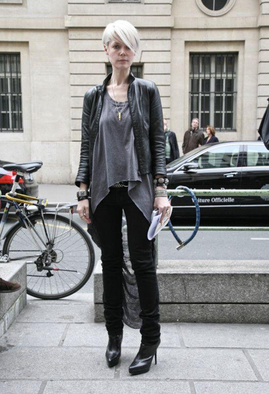 Kate Lanphear - Helmut Lang leather jacket. Raquel Allegra shirt. Levi's jeans. YSL boots. Bullet necklace. (Paris)