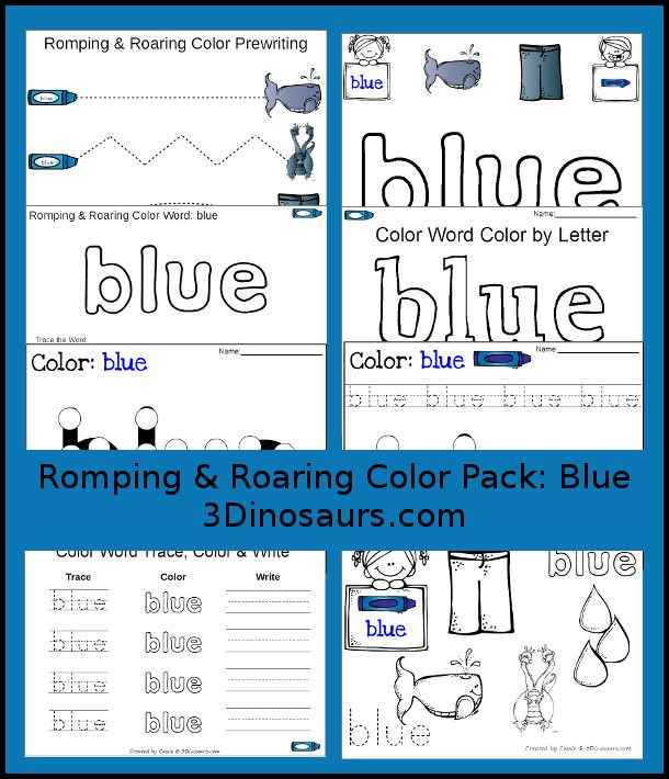 Here is a FREE Blue Printables pack from 3 Dinosaurs.  Each pack has 21 pages of printables for each color word. Here is a list of what you will find in e