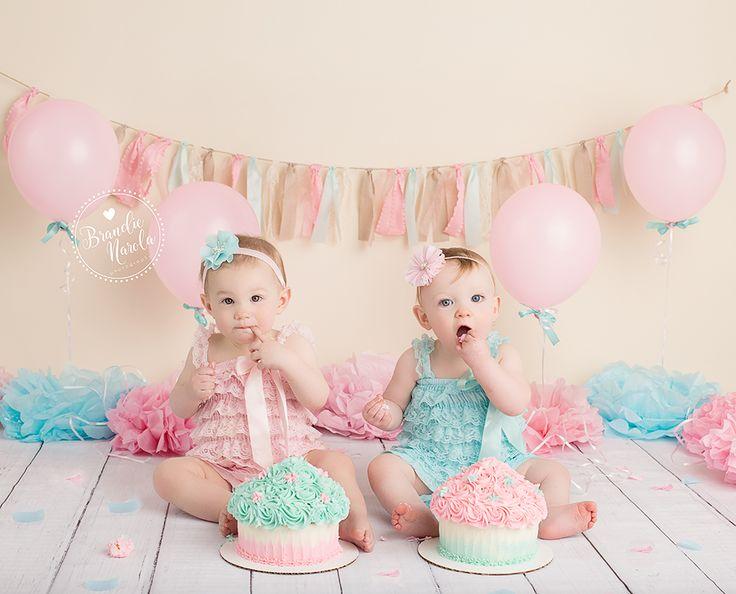 Twin Cake Smash, Twin Girl Cake Smash, Aqua and Pink Cake Smash, Smash Cake, First Birthday, Twins, Twin babies,