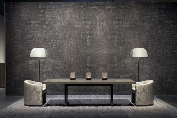 luxury living room-grey leather furniture // armani casa
